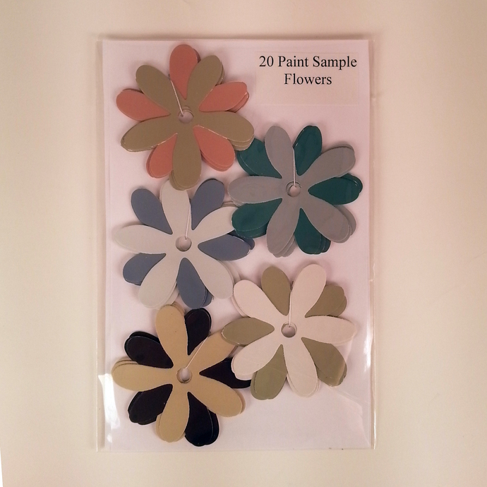 Paint Sample Flowers Brown Blue Orange Recycled