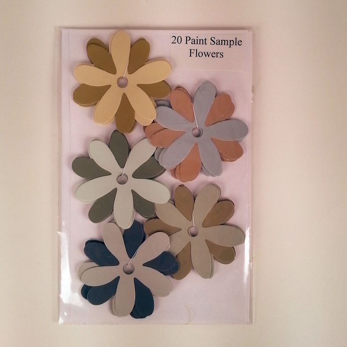 Paint Sample Flowers Green Gold Gray Recycled