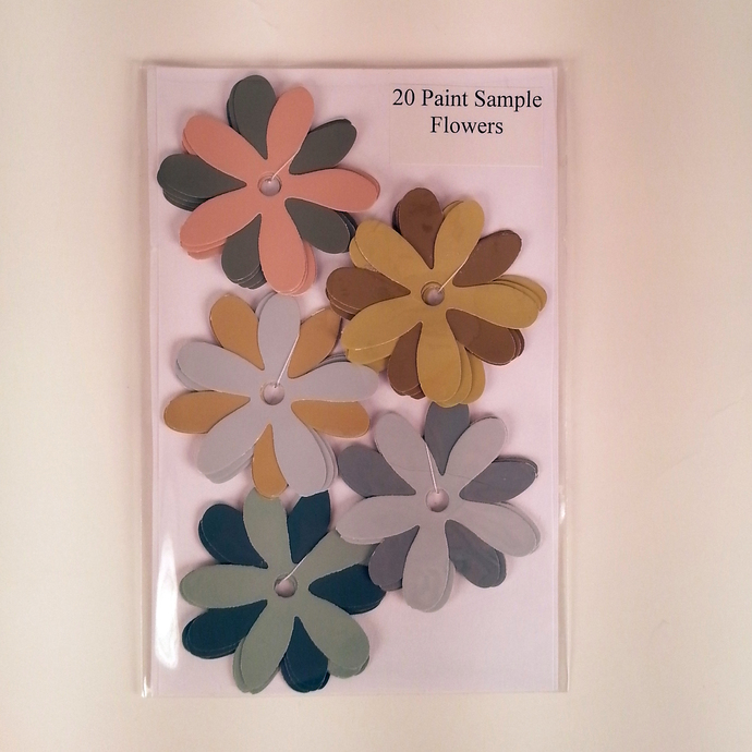 Recycled Paint Sample Flowers Pink Gold Gray