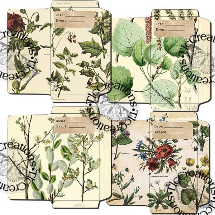 Botany 101 Printable Vintage Envelopes Junk Journal Scrapbook