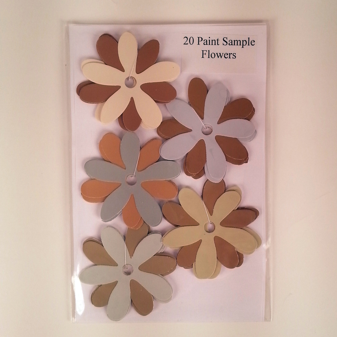 Paint Sample Flowers Brown Gray Recycled