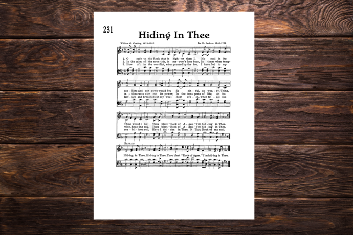 HIDING IN THEE Vintage Verses Printable Sheet Music Wall Art Instant Download