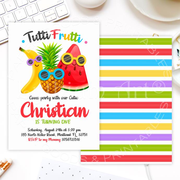 Tutti Frutti Photo Invitation, Printable Files, Tutti-frutti Party, Fruits