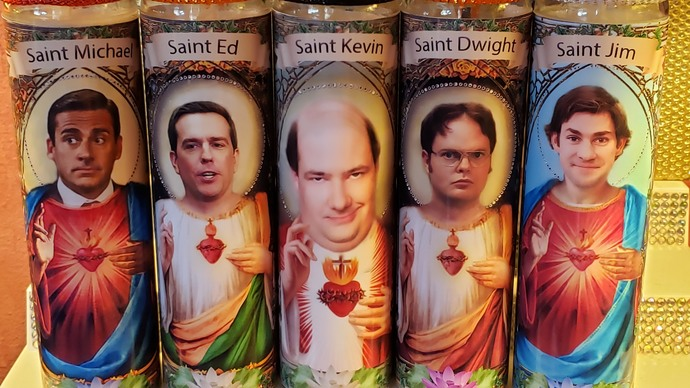 Set of 6 candles CAST From The Office  -  Celebrity Saint Prayer Candle