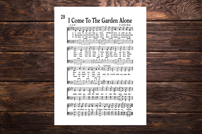 I COME TO THE GARDEN ALONE Vintage Verses Printable Sheet Music DIY Wall Art