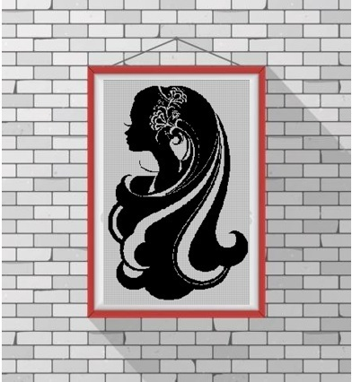 Woman Hairstyle silhouette cross stitch pattern in pdf