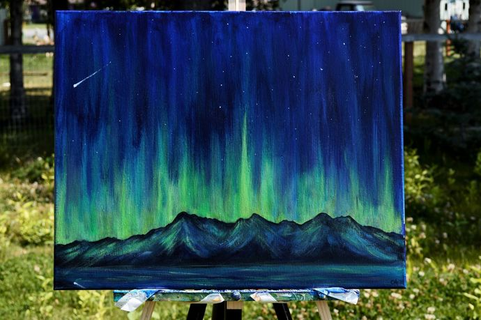 """Ethereal Lights"" 16 x 20 Painting of The Auroras"