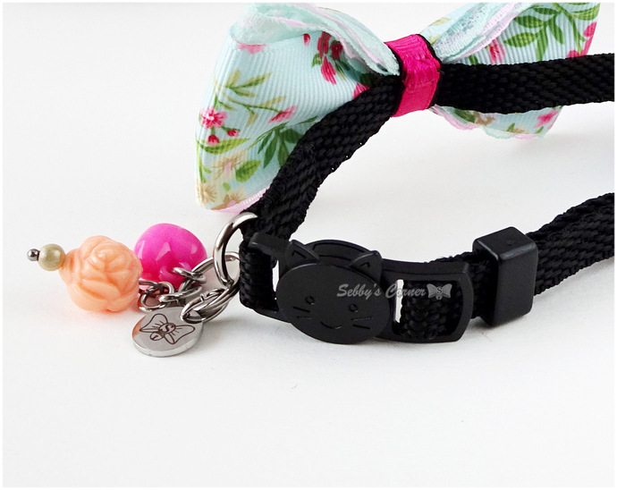Flower Print Bow Tie Collar for Cat, Pet Attire, Pet Accessories, Small Pet Bow,