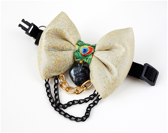 Pride is Gold Bow Tie for Pets, Slide on Bow, Removable Bow Tie, Pet Clothing,