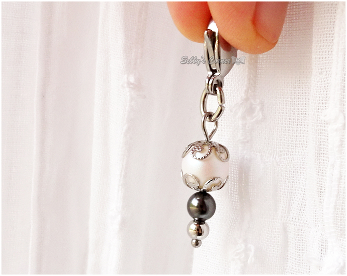 Iridescent Swarovski Pearl Clip-on Charm, Zipper Pulls, Handbag Charms, Pet