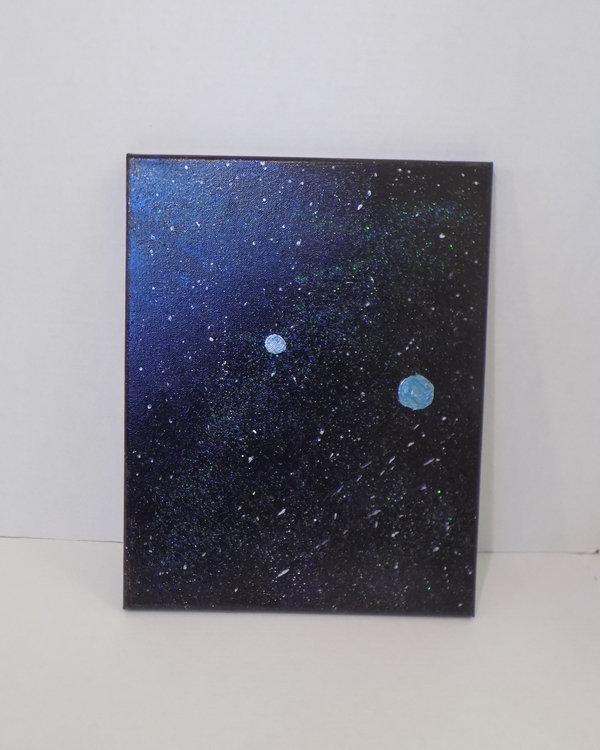 Outer space original acrylic on canvas, one of a kind art galaxy spacescape