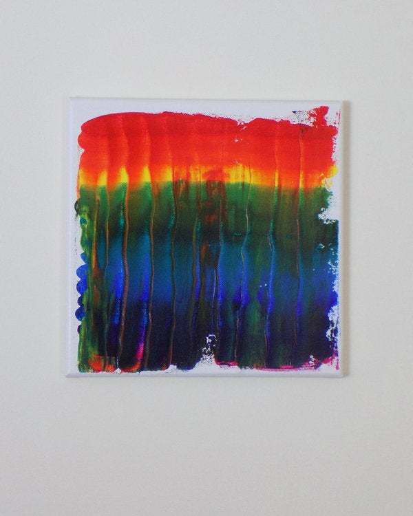 Original acrylic painting on canvas, one of a kind artwork, abstract rainbow