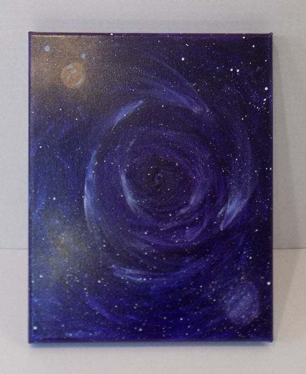 Galaxy original watercolor painting on canvas, celestial spacescape abstract