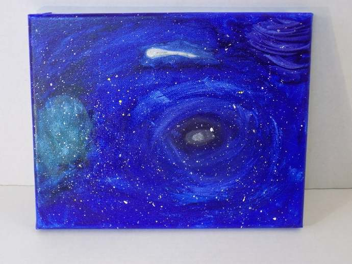 Outer Space abstract art, original watercolor painting on canvas, one of a kind
