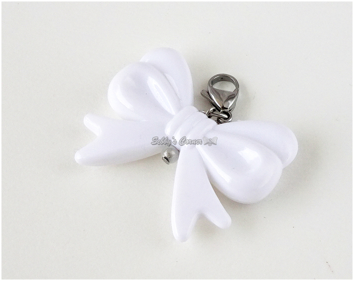 Acrylic Bow Charm with Clip, Pick Your Color, Pet Collar Charms, Bows for Pets,