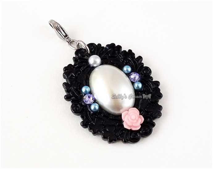 Victorian Princess Charm with Clip, Pet Jewelry, Kawaii Pet Accessories, Clip-on