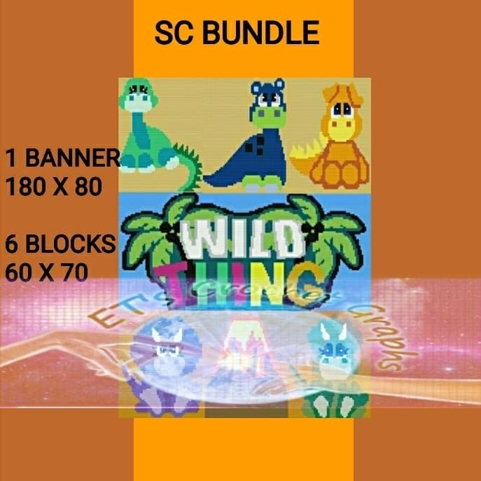 Wild Things - Dinos 7 Pattern Bundle - Graph with Written Color Charts