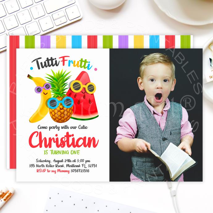 Tutti Frutti Birthday Invitation, Printable Files, Tutti-frutti Party, Fruits
