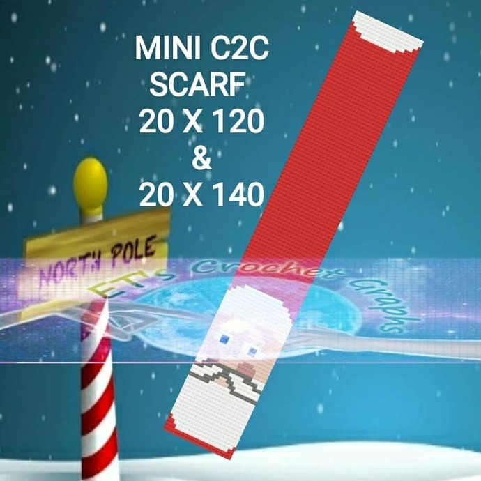Jolly Santa Mini C2C Scarf 20x120 & 20x140 Combo is included with Graph and