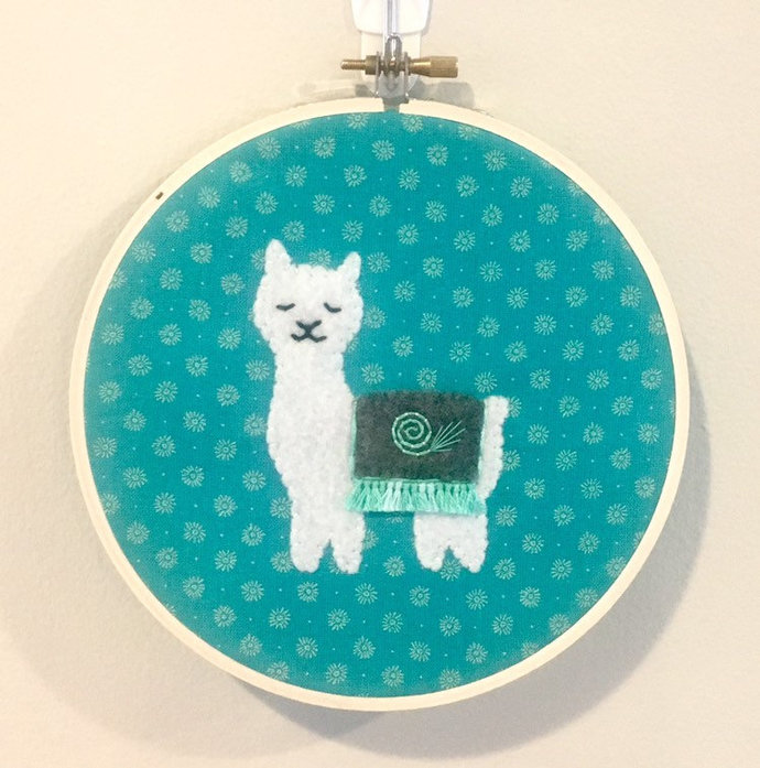 Small embroidered alpaca wall hanging