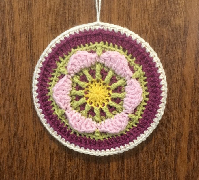 Small framed crochet mandala wall hanging