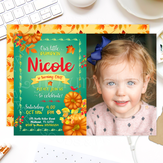 Little Pumpkin Invitation, Printable Files, Little Pumpkin Birthday, Pumpkin