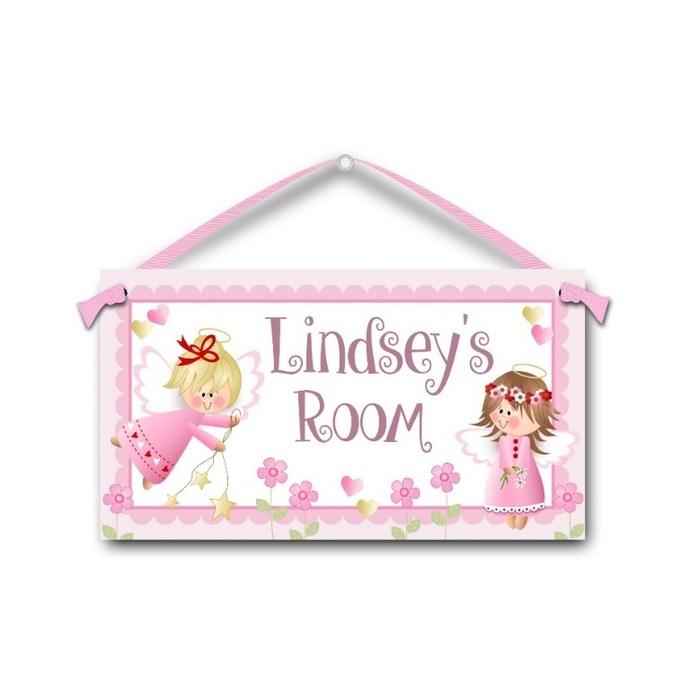 Angel Girls in Pink - Personalised Kids Door Sign