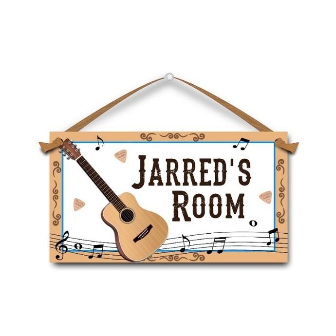 Acoustic Guitar - Personalised Kids Door Sign