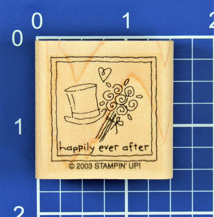 HAPPILY EVER AFTER with Top Hat, Heart and Flowers, Wood Mounted Rubber Stamp by