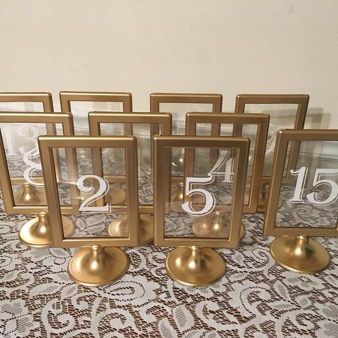 Rustic Wedding Table Numbers, Table Number Gold Frame, Gold Wedding Table