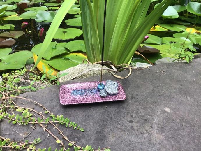 Pink Glitter Rock Formation Incense Holder