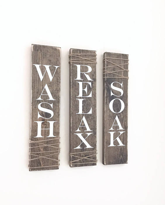 Rustic Bathroom Signs, Set Of Three, Rustic Bathroom Decor, Rustic Bathroom