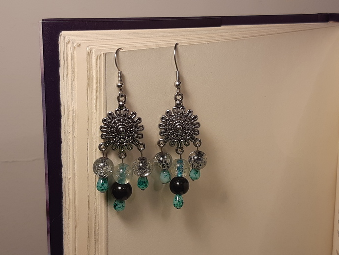 Silver and Glass Dangle Earrings/ Silver Link Earrings/ Glass Earrings/ Silver