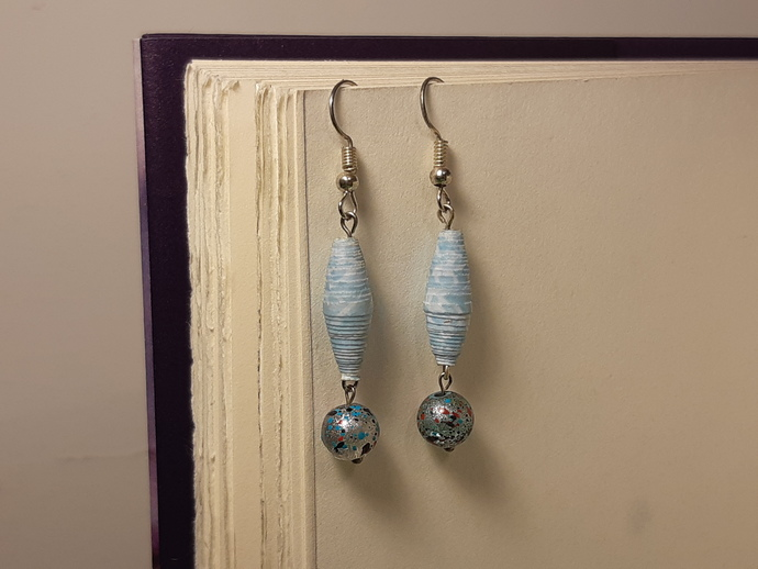 Paper Bead and Glass Dangle Earrings/ Blue Earrings/ Glass Earrings/ Paper Beads