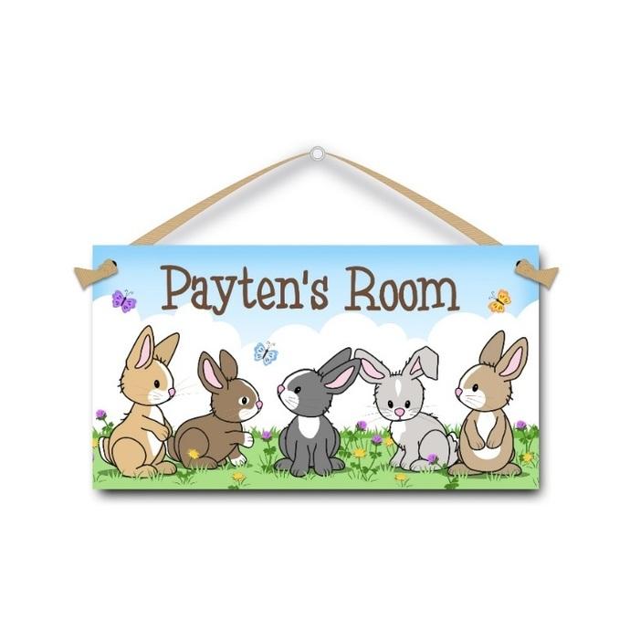 Bunny Rabbits - Personalised Kids Door Sign