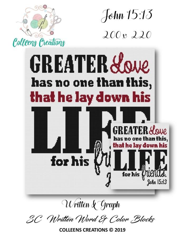 John 15:13 Crochet Written and Graph Design