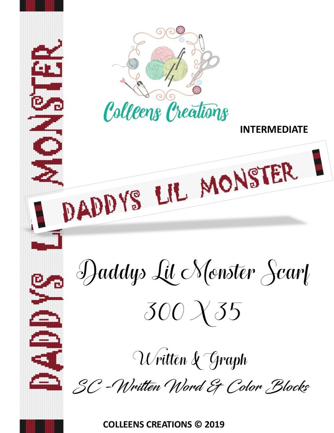 Daddy's Lil Monster Scarf Crochet Written and Graph Design