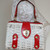 Vintage Wicker Purse White Red Leather Accents Double Sided 2 Closures Hong Kong