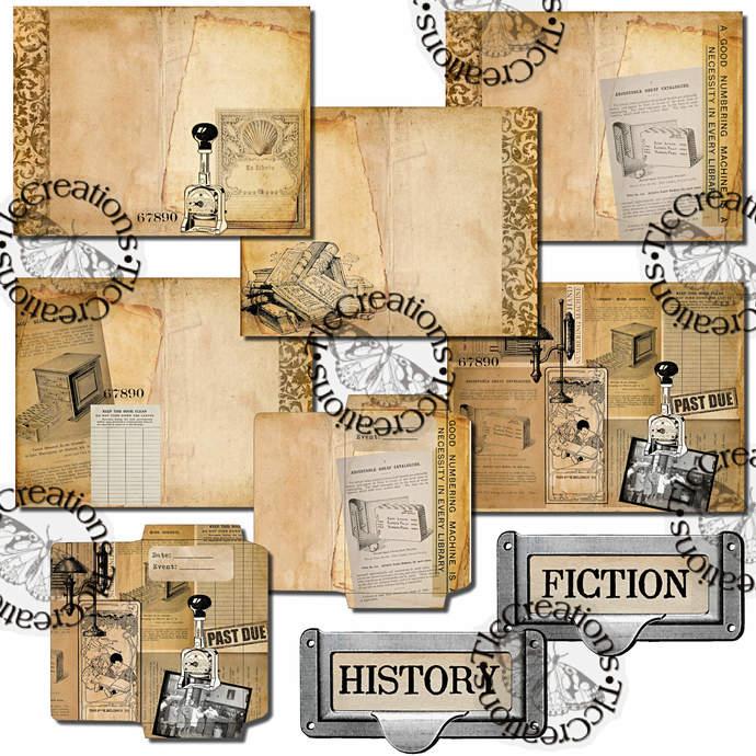 The Library Printable Junk Journal Kit Vintage