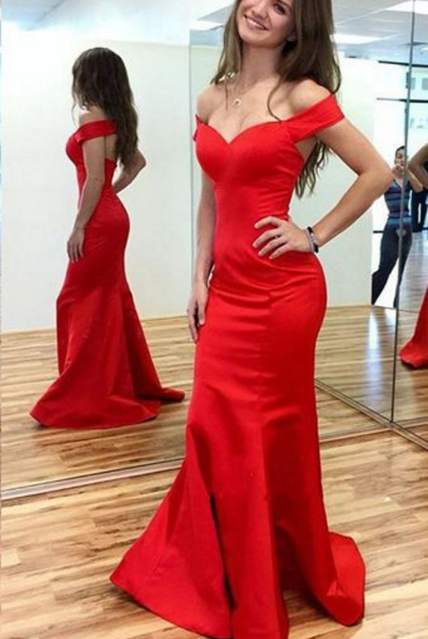 Red Prom Dresses,Mermaid Prom Dress,Satin Prom Dress,Prom Dresses, Formal