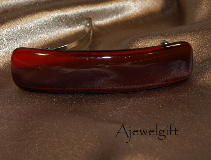 Red and Black Fused Glass Barrette (93193FN)