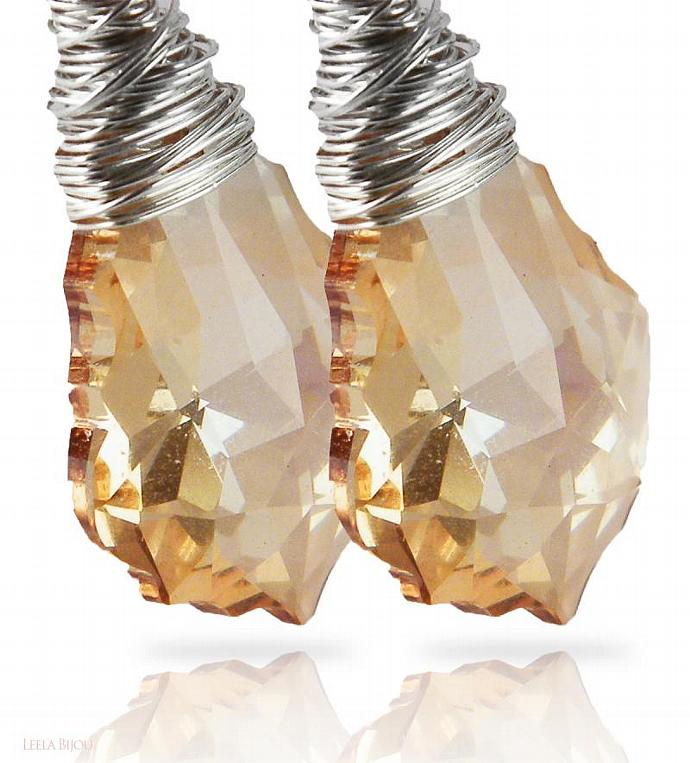 Golden Drop Earrings Swarovski Crystal Sterling Silver