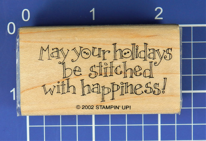 May Your Holidays be Stitched with Happiness!  Rubber Stamp