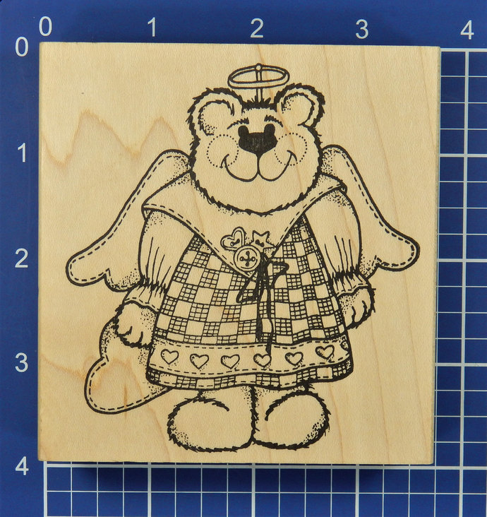 ANGEL BEAR with HEARTS, Rubber Stamp by Cottage Stamper