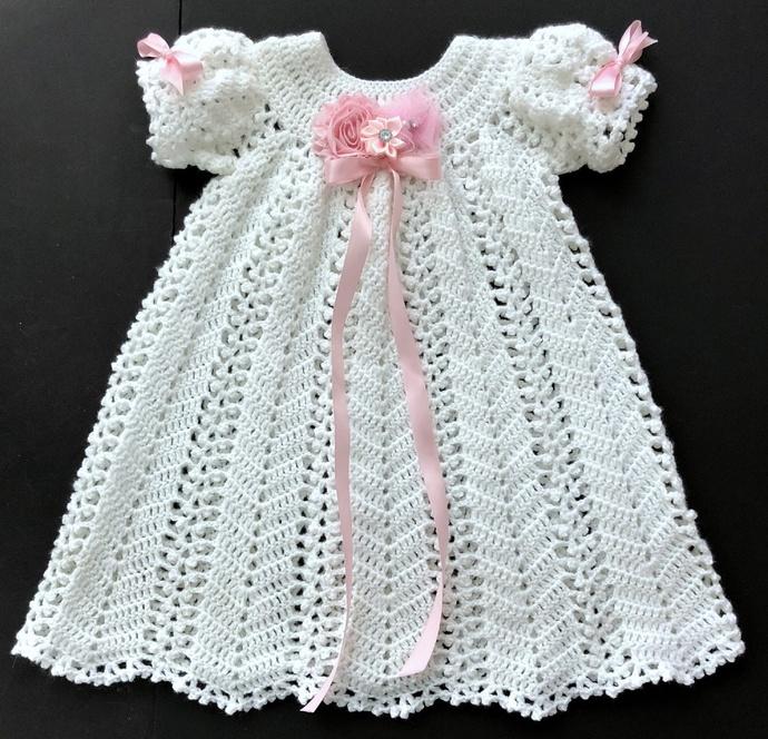 Baby Girl Christening Dress Crochet Pattern with Slip Pattern Printable:  4-6