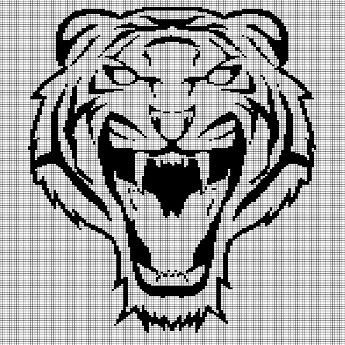TIGER HEAD CROCHET AFGHAN PATTERN GRAPH