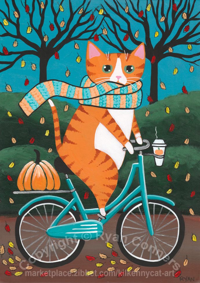 Ginger Autumn Cat and Coffee Bicycle Ride Original Cat Folk Art Painting