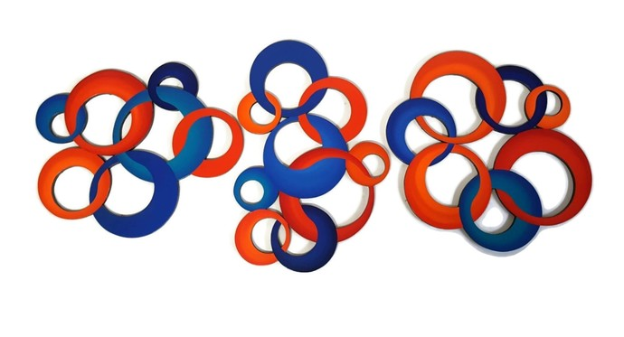 3 pc Blue, Orange, red Contemporary Circle Sculpture, Abstract Circle Wall art,