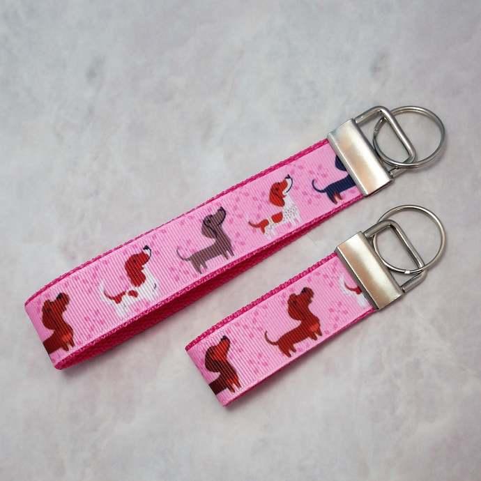 Dachshund keychain Wristlet   doxie mini Key Fob, dog mini key fob, mini