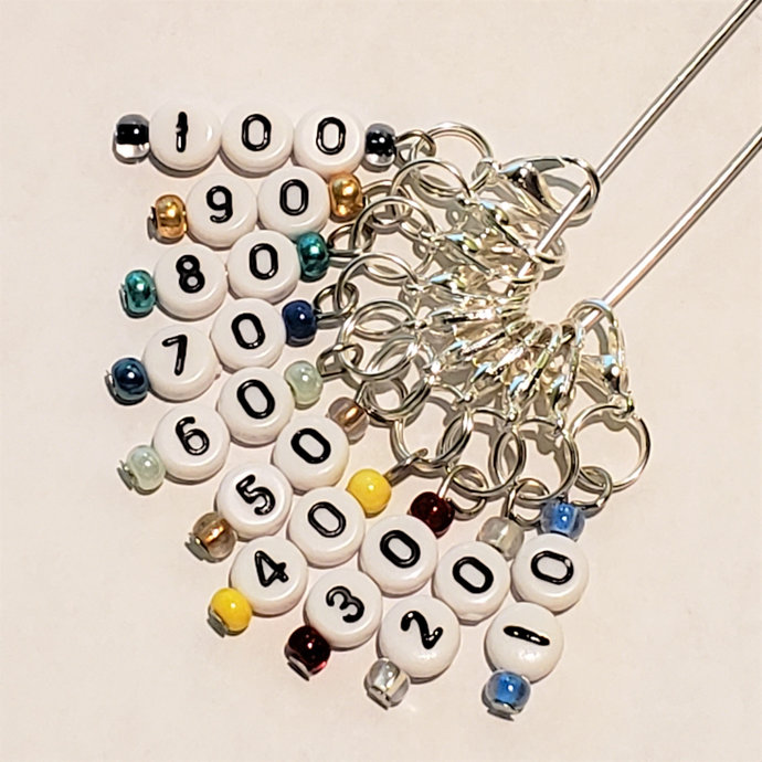 Number Stitch Marker, 10-100 | knitting row counter, crochet hook marker,